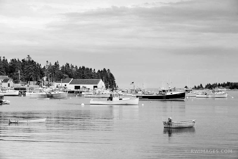 COREA MAINE LOBSTER BOATS IN FISHING HARBOR NEAR ACADIA NATIONAL PARK MAINE BLACK AND WHITE