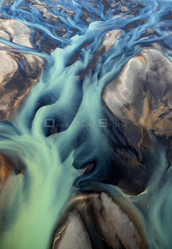Aerial view of river delta, South West Iceland, June 2014.