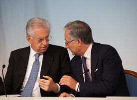 Italian Prime Minister Mario Monti and Filippo Griffi at a press conference.