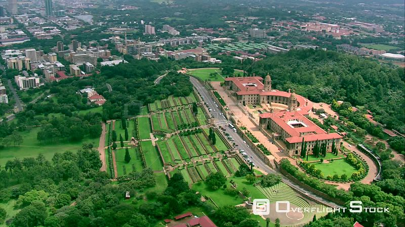 Aerial shot of The Union Buildings in Pretoria. Pretoria Gauteng South Africa