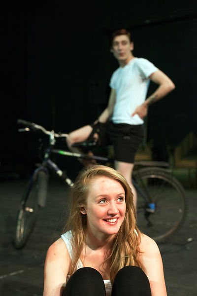 UK - Hull - Drama student Sarah Green from Hull University during a rehearsal for an upcoming production of Cycle Song in the Gulbenkian Theatre