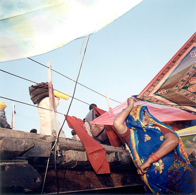 women drying saris at the Kumbh Mela