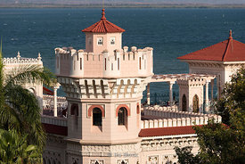 The Palacio del Valle an early 20th centruy mansion in Cienfuegos, Cuba. It now houses restaurants and bars.