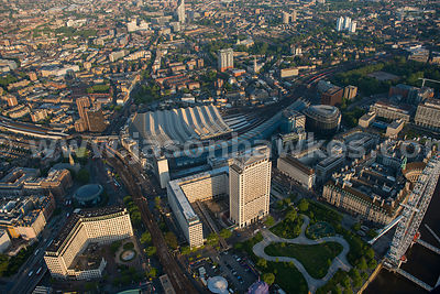 Aerial view of Waterloo Station, Lambeth, London