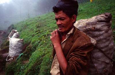 A peasant farmer rests on his way to market, Dolakha region, Nepal