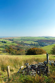 View of Senghenydd and the Aber Valley from Cefn Eglwysilan near Caerphilly, South Wales, UK.