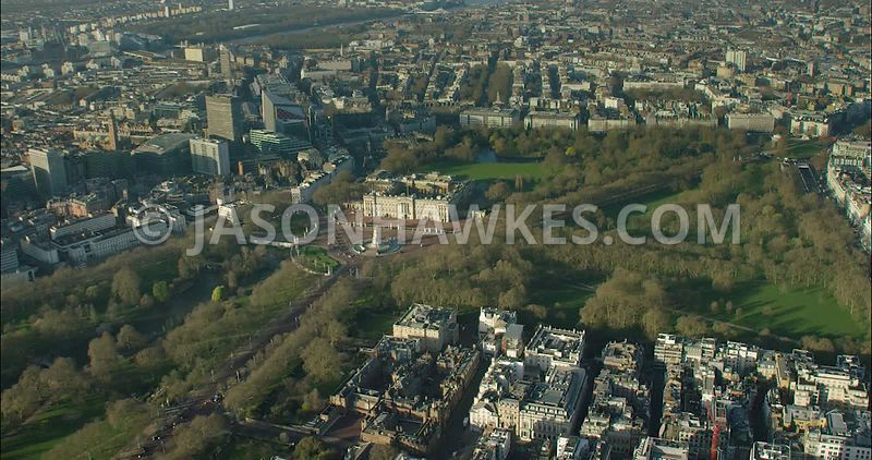 London Aerial Footage Green Park and St James's Park.