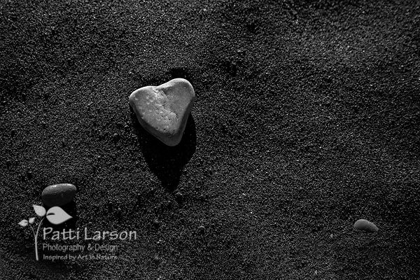 Heart Shaped Rock on Black Sand Beach