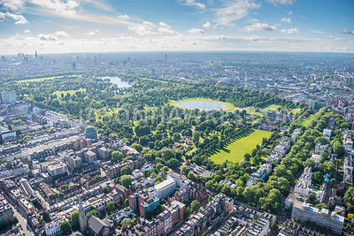 Aerial view of Kensington Gardens and Round Pond