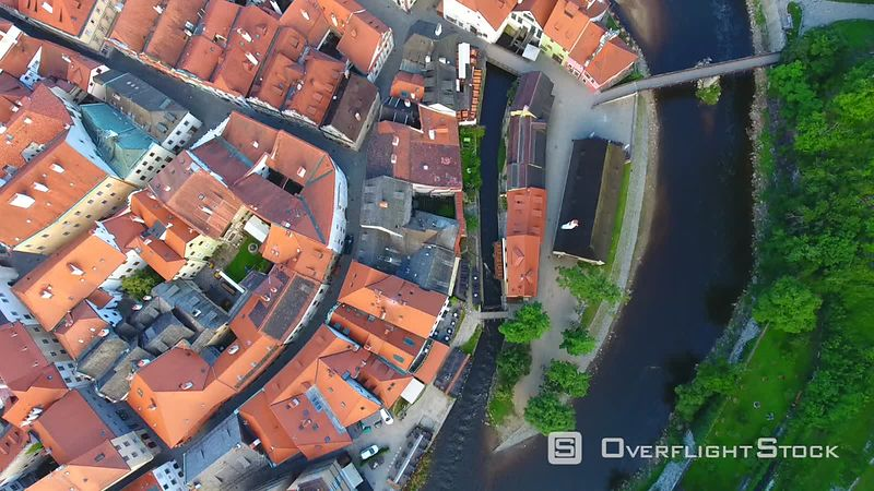 Aerial view of Cesky Krumlov, filmed by drone at sunrise, South Bohemian region, Czech Republic