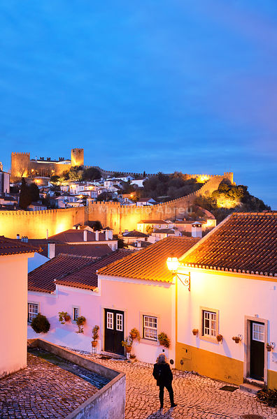 Óbidos at dusk, one of the most beautiful medieval villages in Portugal, taken to the moors in the 12th century (MR).