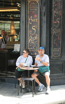Relaxing at a cafe in Paris, France