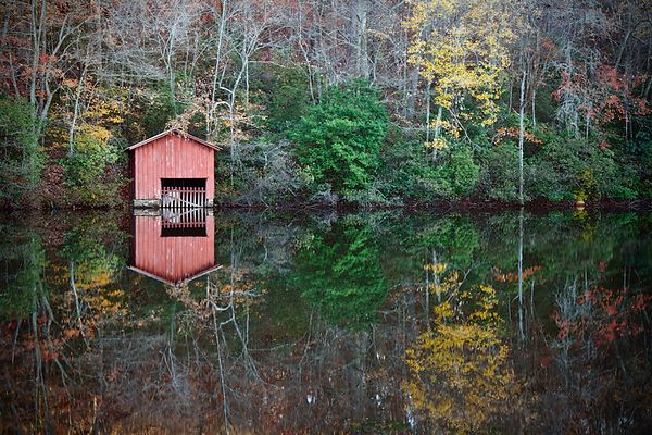 Boathouse and Reflections