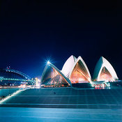 Sydney Opera House and the Sydney Harbor Bridge at night, Sydney, New South Wales, Australia
