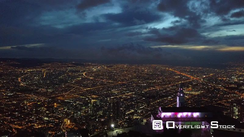 Drone Video Night View Sanctuary of Monserrate Bogota Colombia