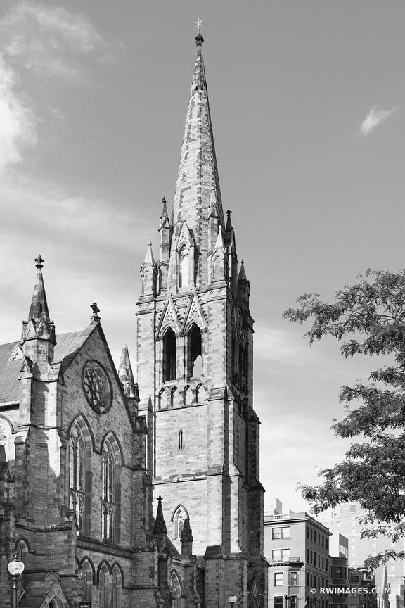 HISTORIC BOSTON CHURCH BLACK AND WHITE VERTICAL