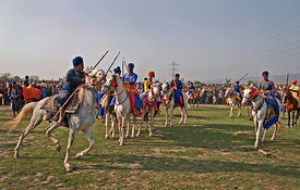 A Group of Nihangs on their horses during Holla Mohalla