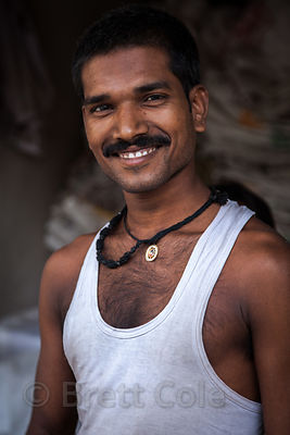 Portrait of a handsome guy in Sovabazar, Kolkata, India.