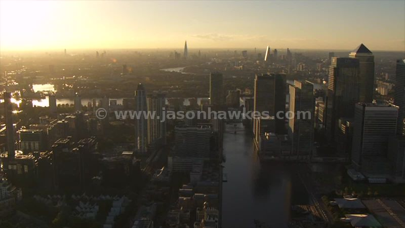 Aerial footage of Canary Wharf and Rotherhithe, London