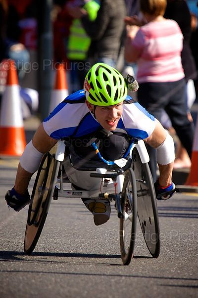 Competitor in The Men's Wheelchair Event at the 2014 London Marathon