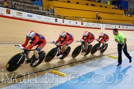 Women's Team Pursuit Qualification, Track Day 1, Toronto 2015 Pan Am Games, Milton Pan Am/Parapan Am Velodrome, Milton, On; July 16, 2015