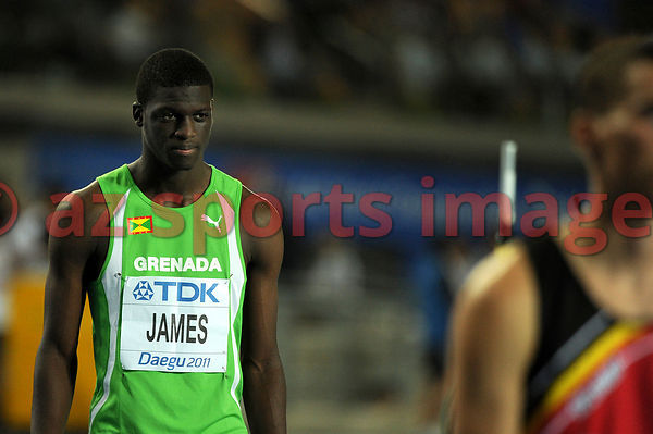Grenada's Kirani James getting ready for the men's 400 metres final