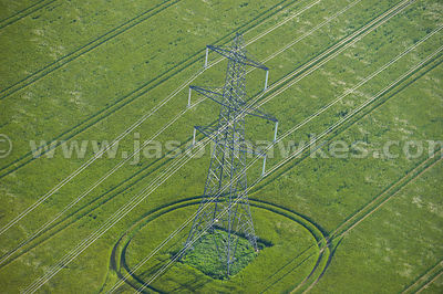 Aerial view of electricity pylons, Great Palgrave, Norfolk