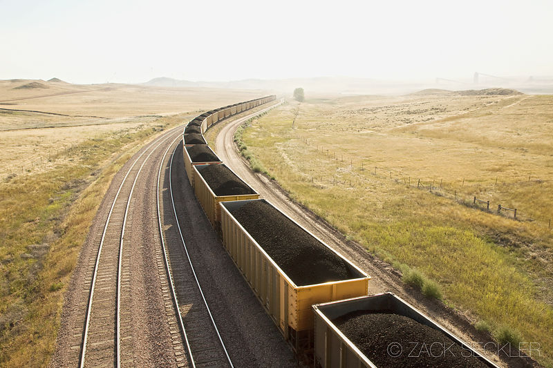 Coal train near Gillette, Wyoming. Photo by Zack Seckler.