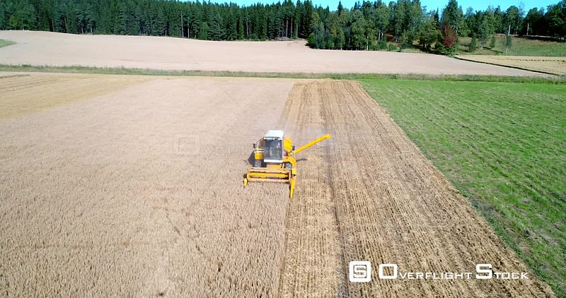 Combine Harvester, 4k Aerial Backward View Away from a Trenching Machine, Harvesting, Field, Sunny Autumn Day, Uusimaa, Finland
