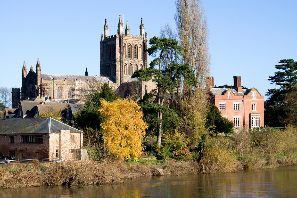 Hereford Cathedral and River Wye, Hereford, England