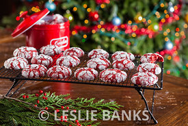 Red velvet crinkle Christmas cookies