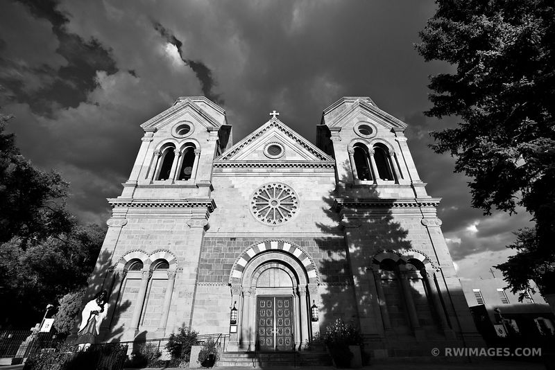 CATHEDRAL BASILICA OF ST. FRANCIS OF ASSISI SANTA FE NEW MEXICO ARCHITECTURE BLACK AND WHITE