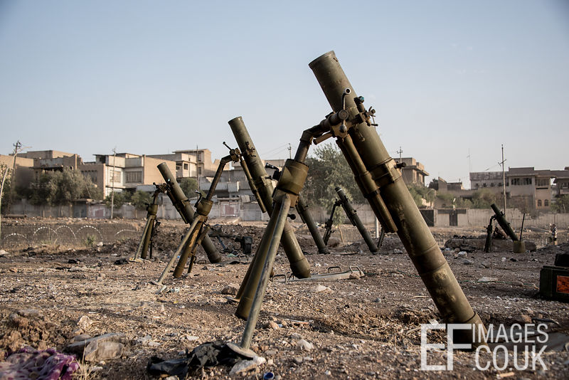 Mortars lined up ready for action. Mosul, Iraq, 5th June 2017