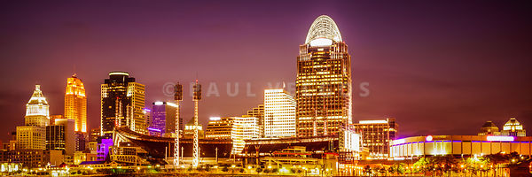 Cincinnati Skyline at Night Panoramic Picture