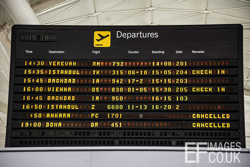 Departure board at Erbil International Airport shows the last flight out, to Vienna, before the airport's enforced closure by the Iraqi government in retaliation against Kurdistan for holding a referendum for independence. Erbill International Airport, 29th September, 2017