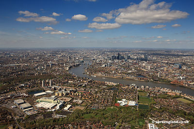 aerial photograph of Bermondsey and Rotherhithe  London England UK