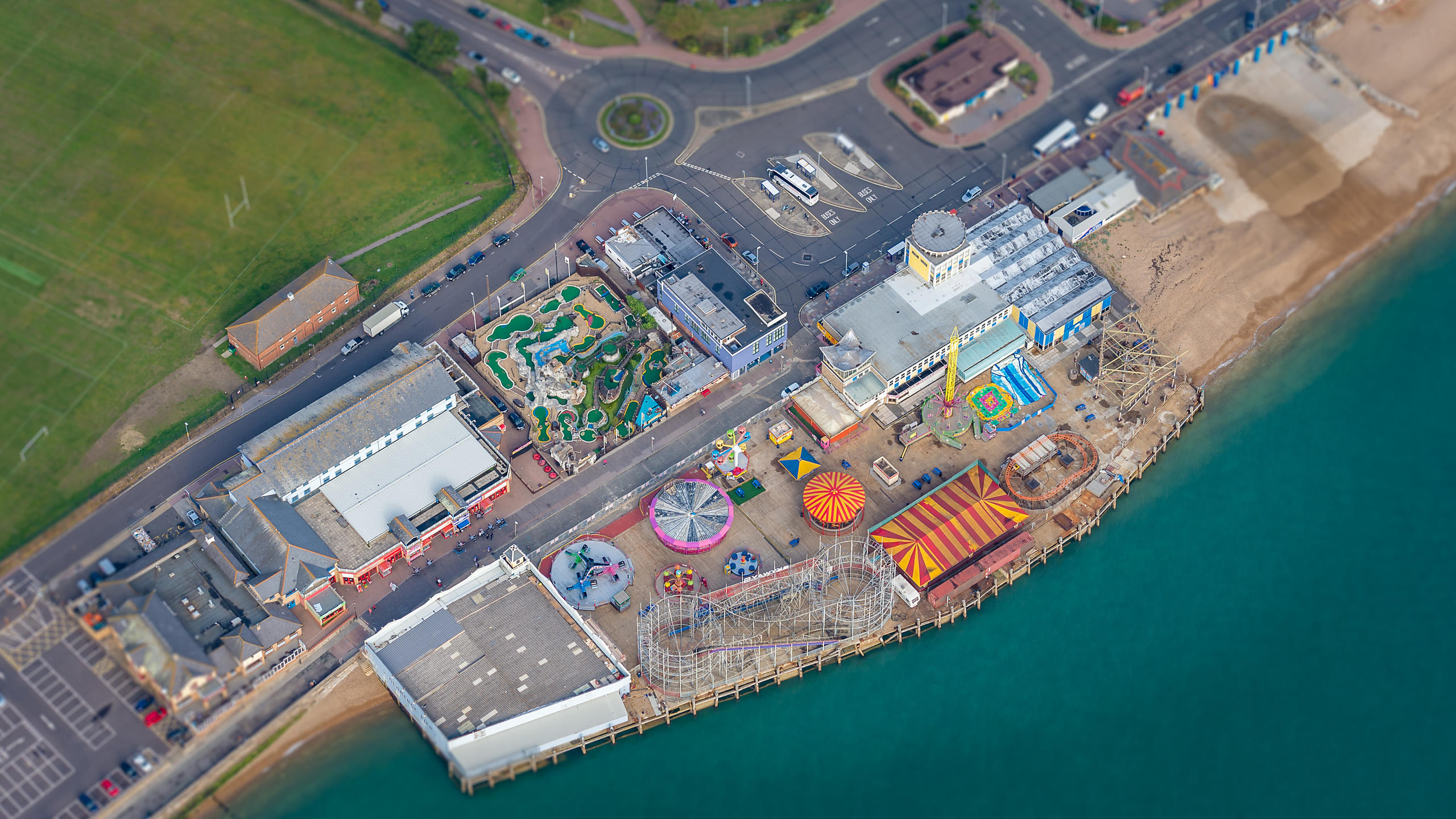 Aerial View of Clarence Pier Funfair; Southsea