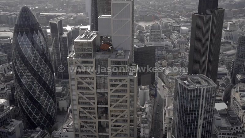 Aerial footage of the skyscrapers of the City of London