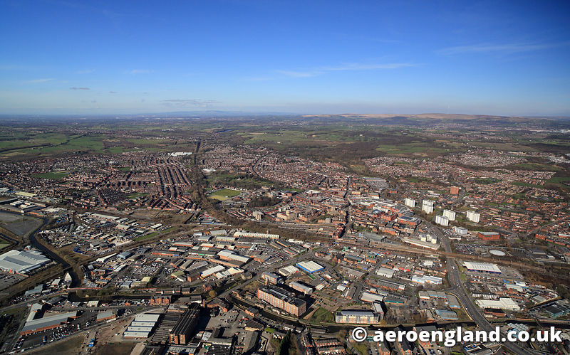 aerial photograph of  Wigan, Lancashire
