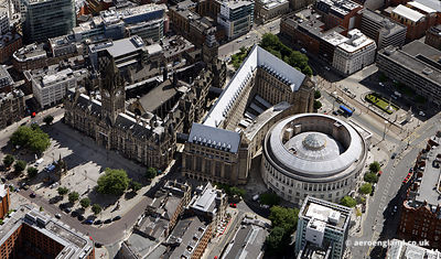 aerial photograph of Manchester Town Hall built 1868 to 1877 to a design by Alfred Waterhouse