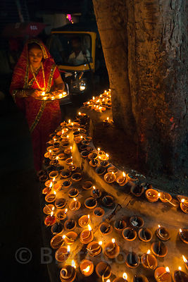 Candles set out for Diwali in Jaipur, Rajasthan, India