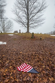 American Flag in Rural Cemetery in Central Michigan