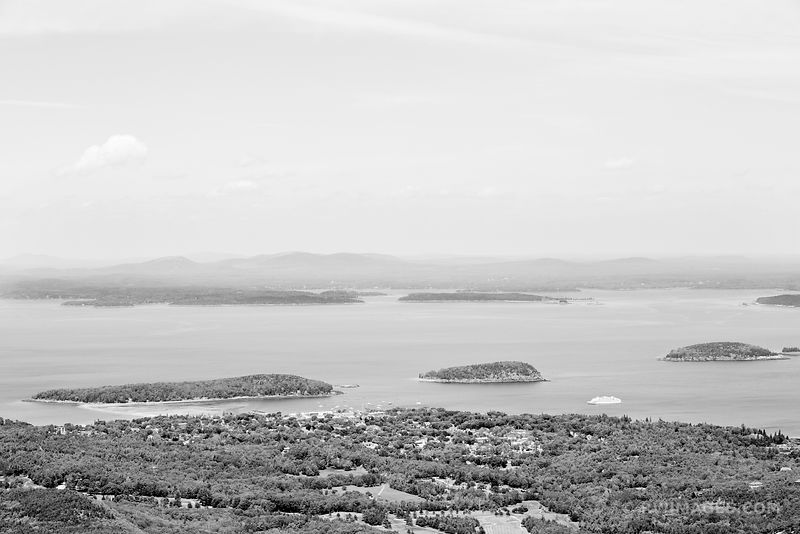 VIEW OF BAR HARBOR AND FRENCHMEN BAY FROM CADILLAC MOUNTAIN ACADIA NATIONAL PARK MAINE BLACK AND WHITE