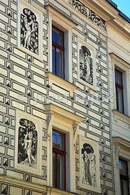 Sgraffito on a house in the centre Pisek City, Czech Republic