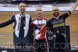 Master B Men 500m Time Trial Podium. Ontario Track Championships, March 4, 2018