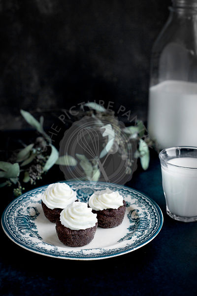 Brownie Bites with Orange Blossom Mascarpone Frosting