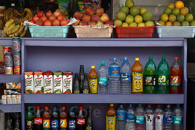 Drinks and fruit for sale in Pushkar, Rajasthan, India