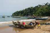 Fishing pirogues on the beach, Butre, Ghana