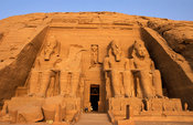 Abu Simbel, facade of the main temple with 4 colossal statues of Rameses II, Egypt