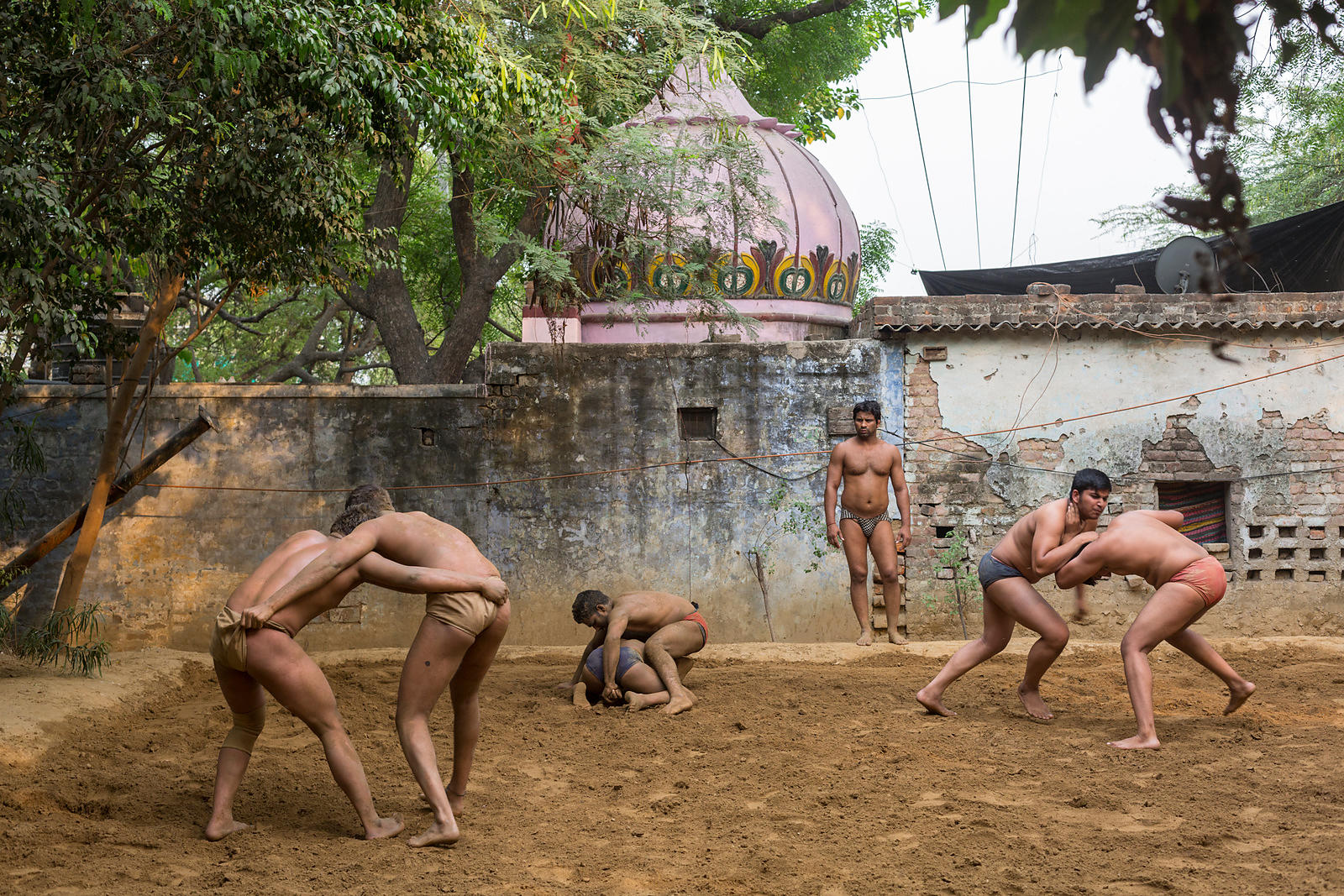 India - New Delhi - Wrestlers at the Guru Jasram Ji Akhara